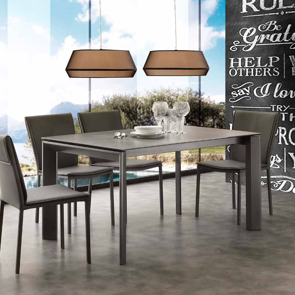 table rallonge de design filadelfia avec plateau en verre c ramique. Black Bedroom Furniture Sets. Home Design Ideas