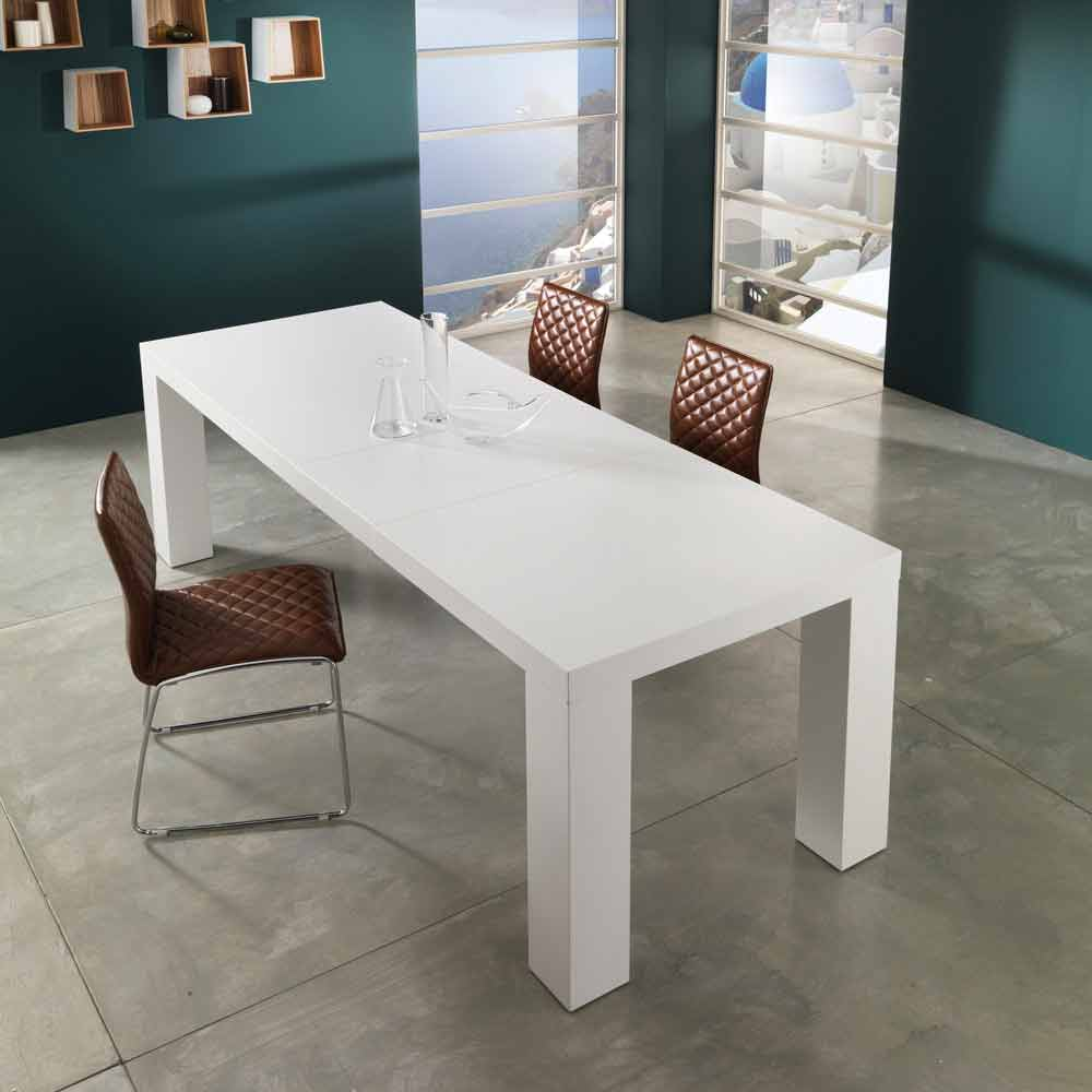Table de salle manger extensible blanc mat demy de for Table salle manger extensible moderne