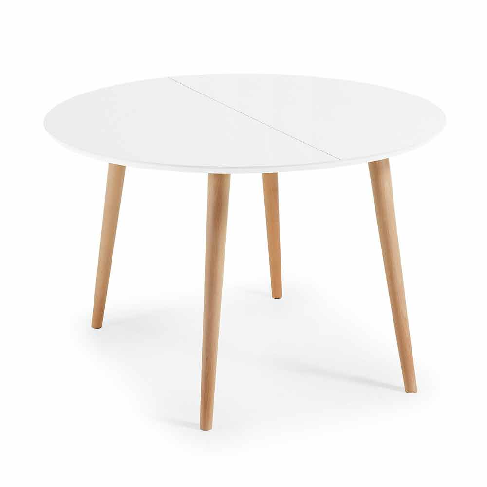 Table ronde extensible design en bois upama - Table ronde extensible design ...