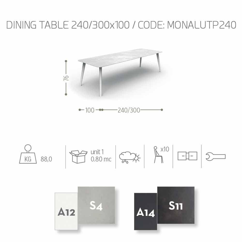 Table de jardin extensible jusqu\'à 3 mètres de design Talenti Moon Alu
