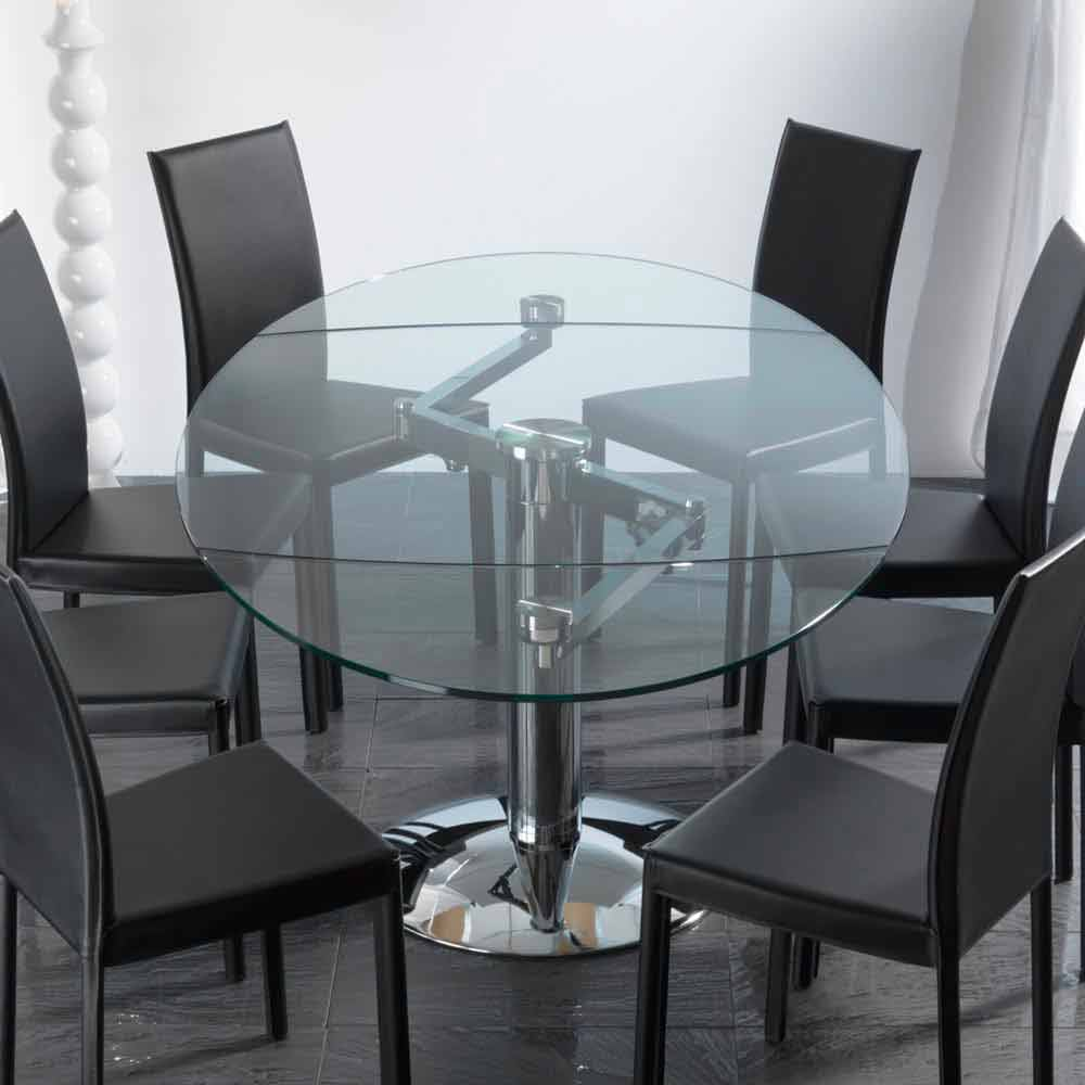 table de salle manger extensible en verre tremp transparent onda. Black Bedroom Furniture Sets. Home Design Ideas