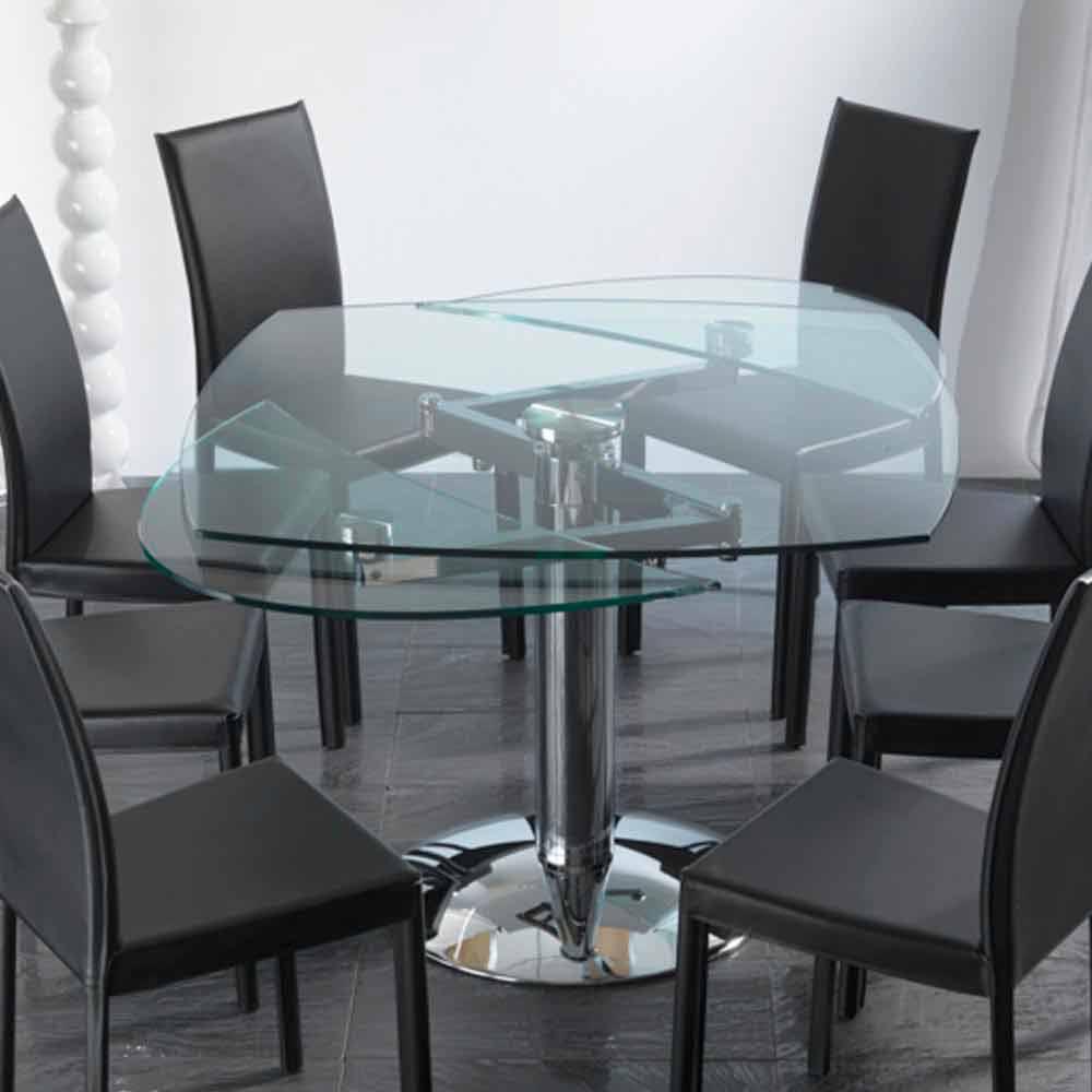 Table de salle manger extensible en verre tremp for Table salle a manger extensible en verre