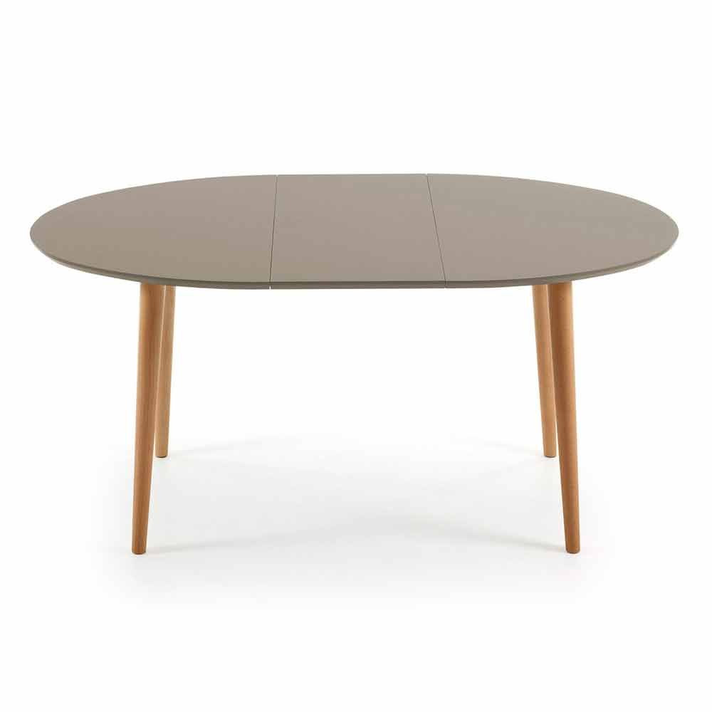 Table de salle manger ovale extensible en bois ian for Table a manger blanche extensible