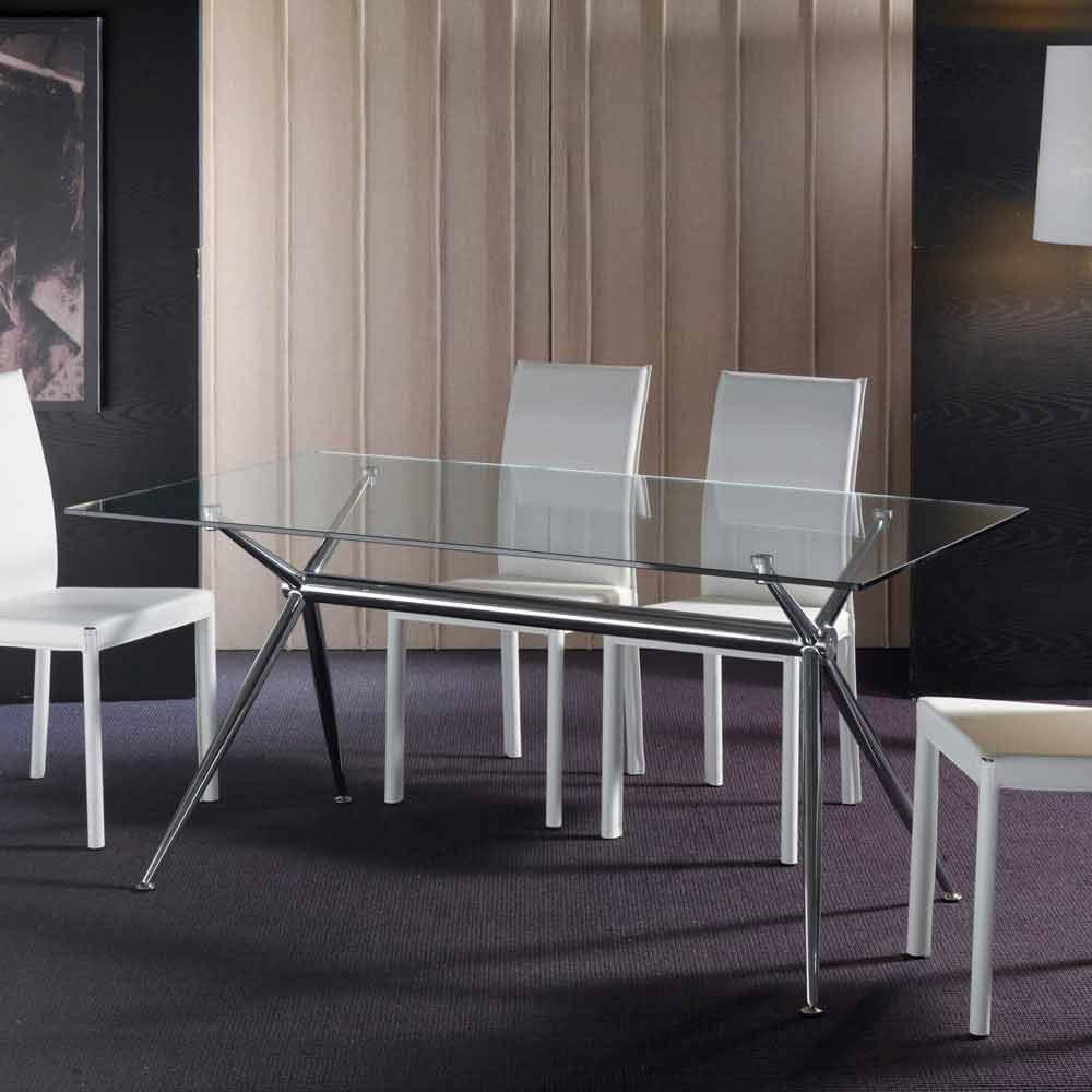 table de salle manger avec plateau en verre tremp transparent thor. Black Bedroom Furniture Sets. Home Design Ideas
