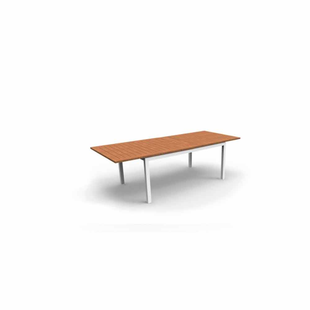 Table de jardin extensible blanche en aluminium timber for Table blanche extensible