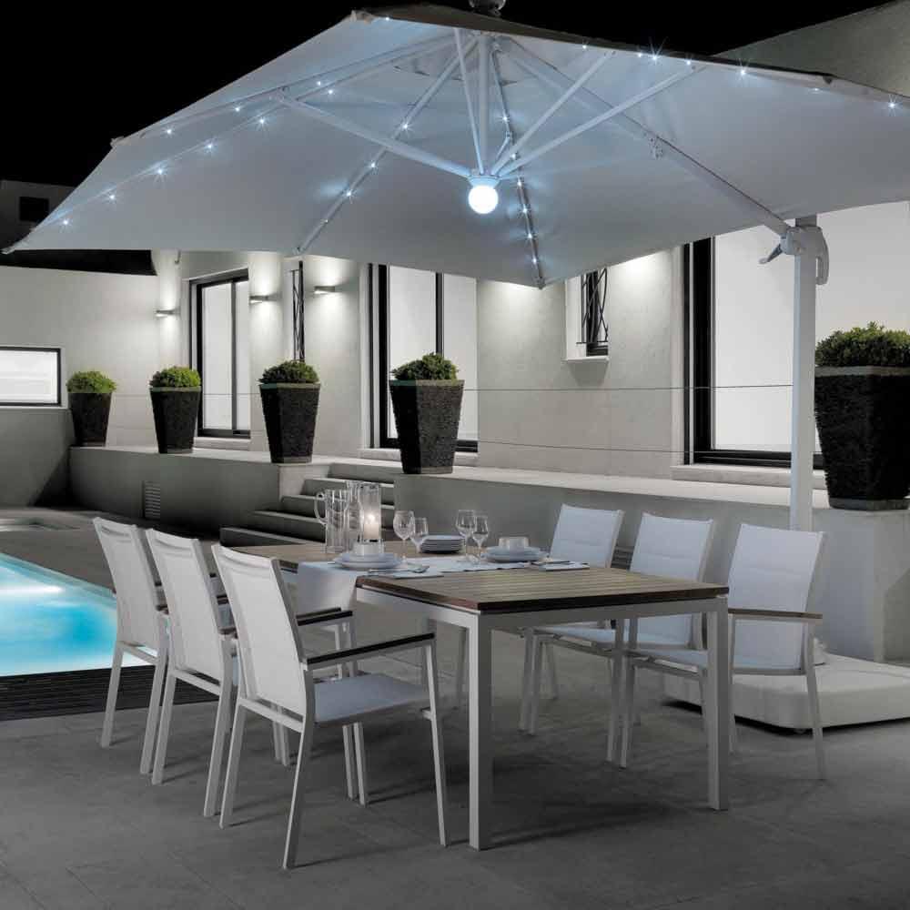 Table de jardin extensible blanche en aluminium Timber