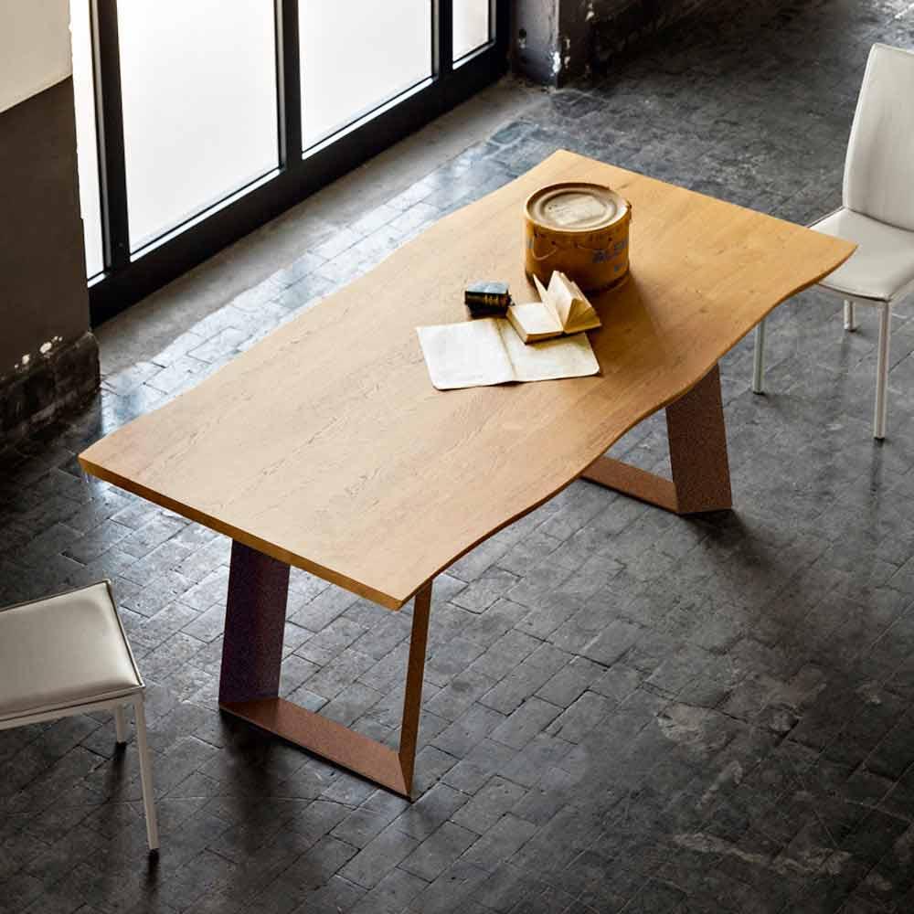 Table de salle à manger moderne en bois et métal Flora 100x200 cm