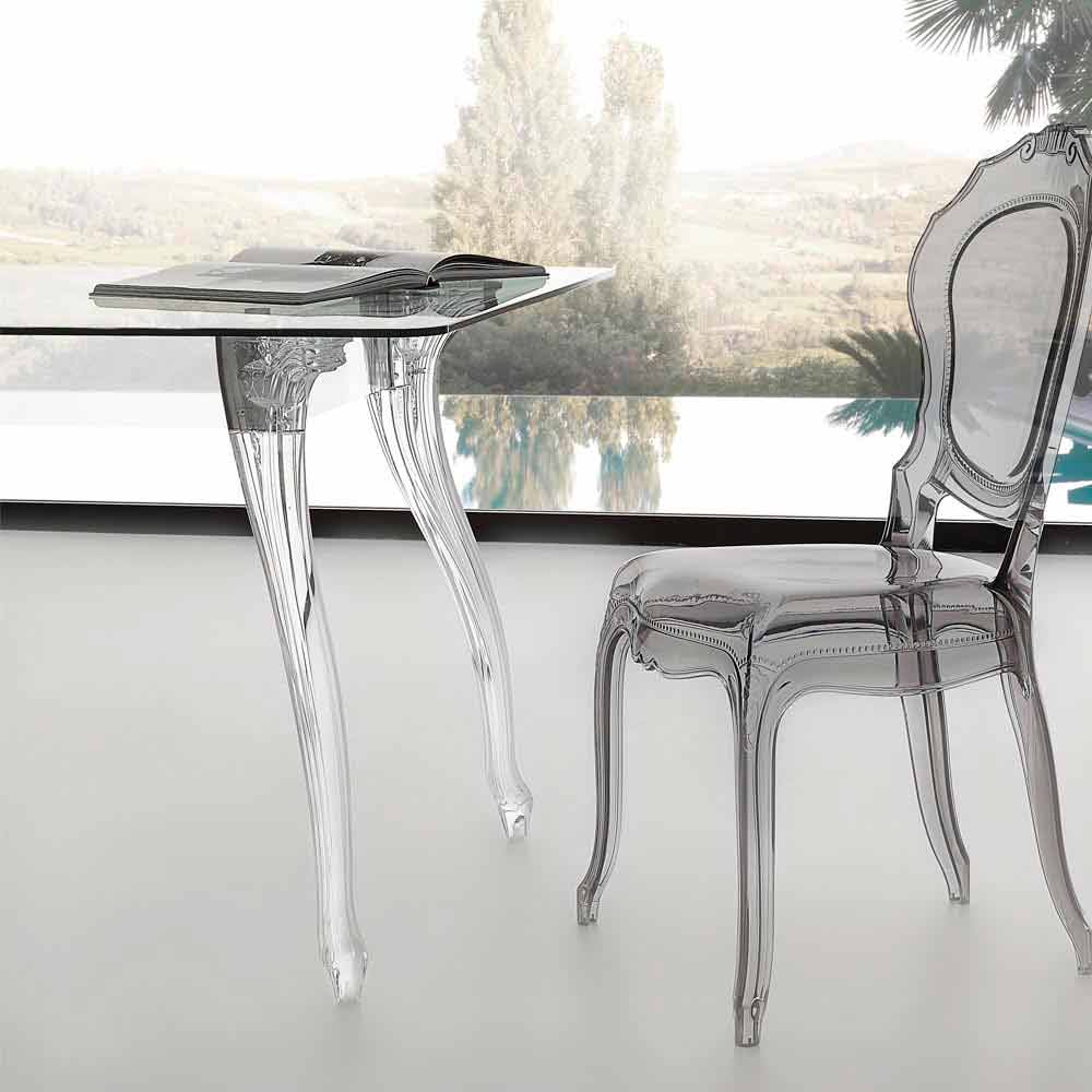table de salle manger avec plateau en verre tremp jinny. Black Bedroom Furniture Sets. Home Design Ideas
