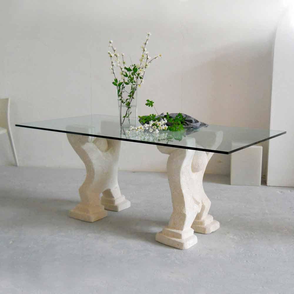 Table manger en pierre naturelle de vicenza et cristal - Bandiere da tavolo e basi ...