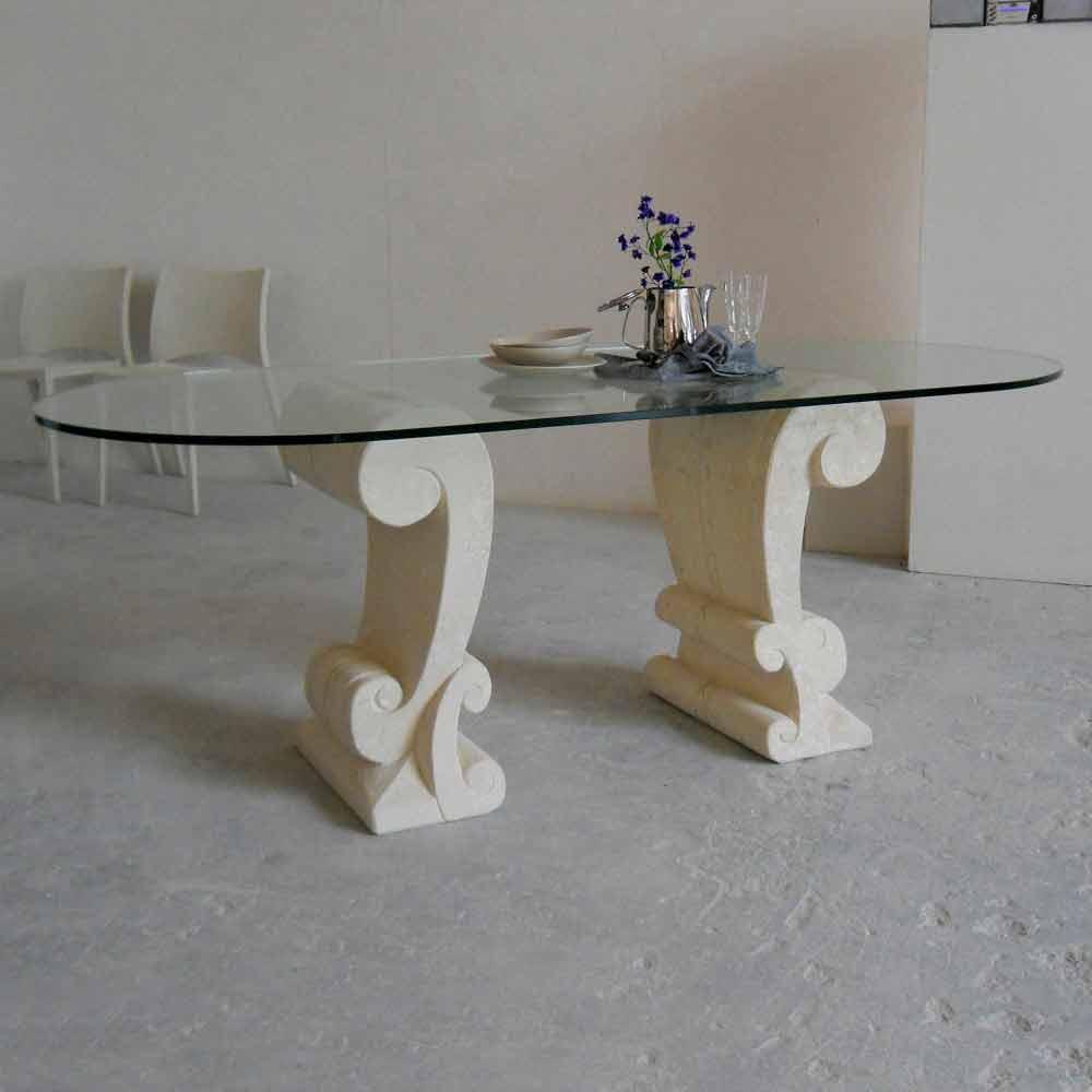 Table manger classique en pierre de vicenza aracne faite en italie - Tavoli ovali in cristallo ...