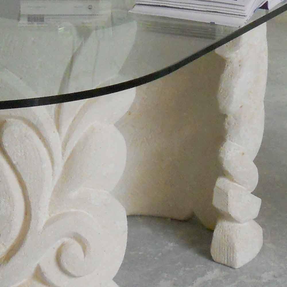 Plateau De Table En Pierre Naturelle table en pierre naturelle de vicenza avec plateau en cristal aden