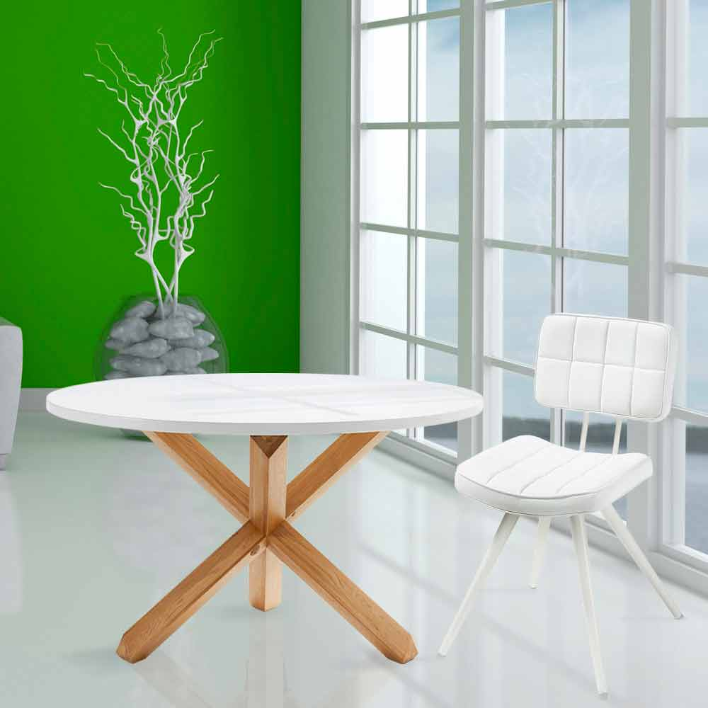 Table ronde de salle manger en bois lola plateau blanc for Table ronde blanc