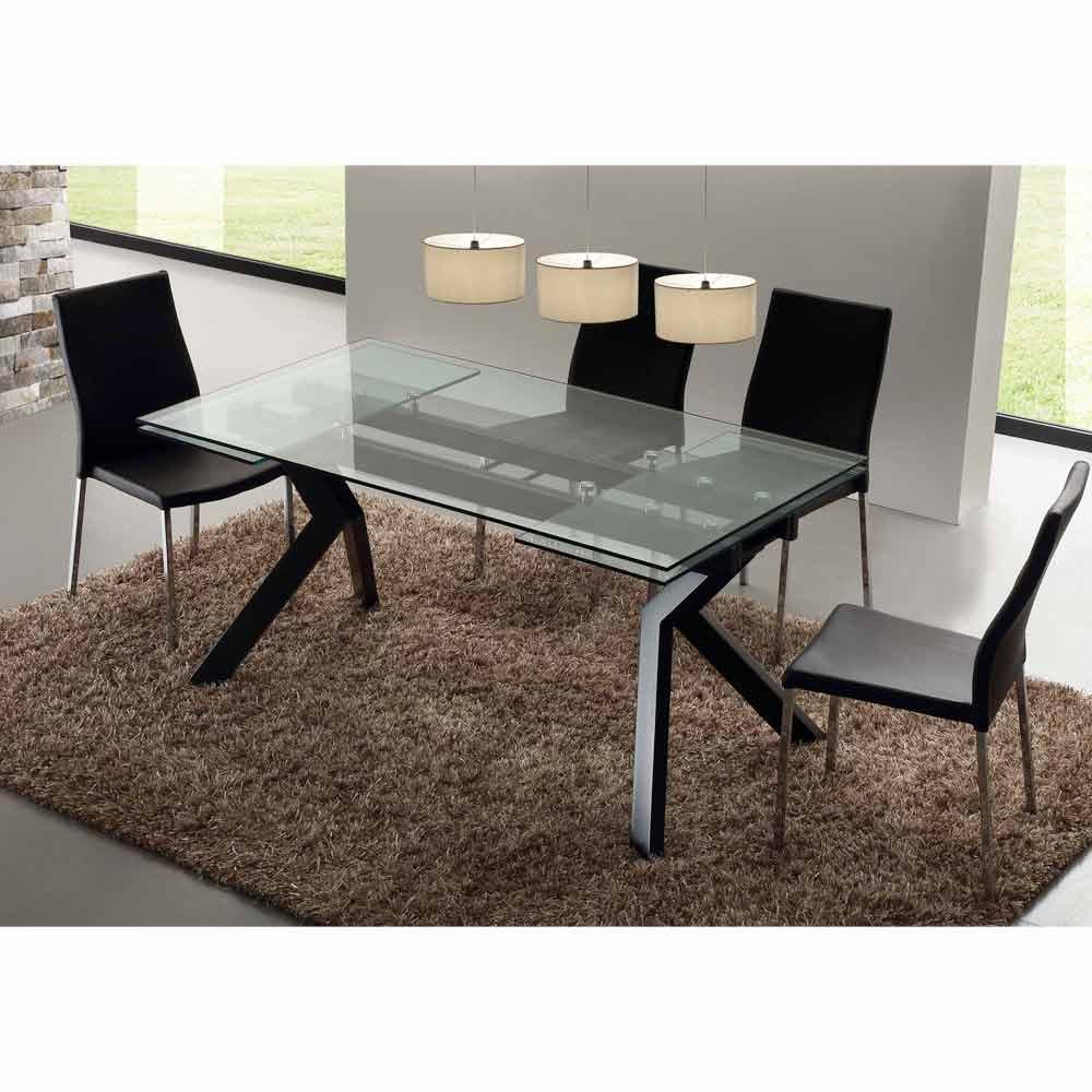 Table manger extensible mesa en m tal et verre tremp for Table en verre extensible design