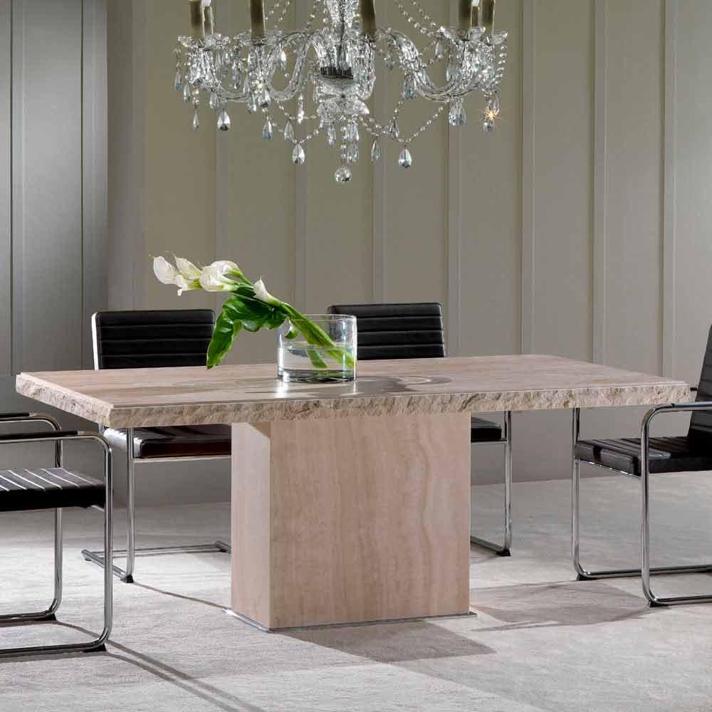 table fixe de pierre travertin de design moderne narciso. Black Bedroom Furniture Sets. Home Design Ideas