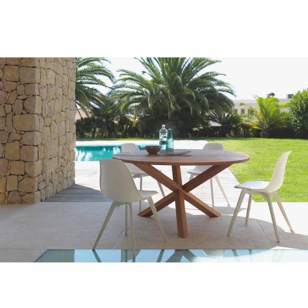 Table de jardin ronde Bridge Talenti en bois d\'acajou, design moderne