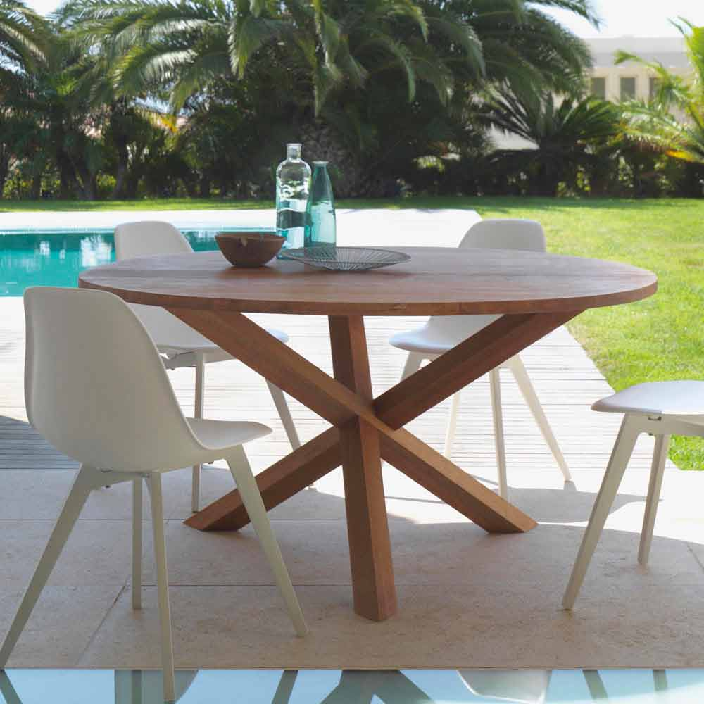 table de jardin ronde bridge talenti en bois d 39 acajou design moderne. Black Bedroom Furniture Sets. Home Design Ideas