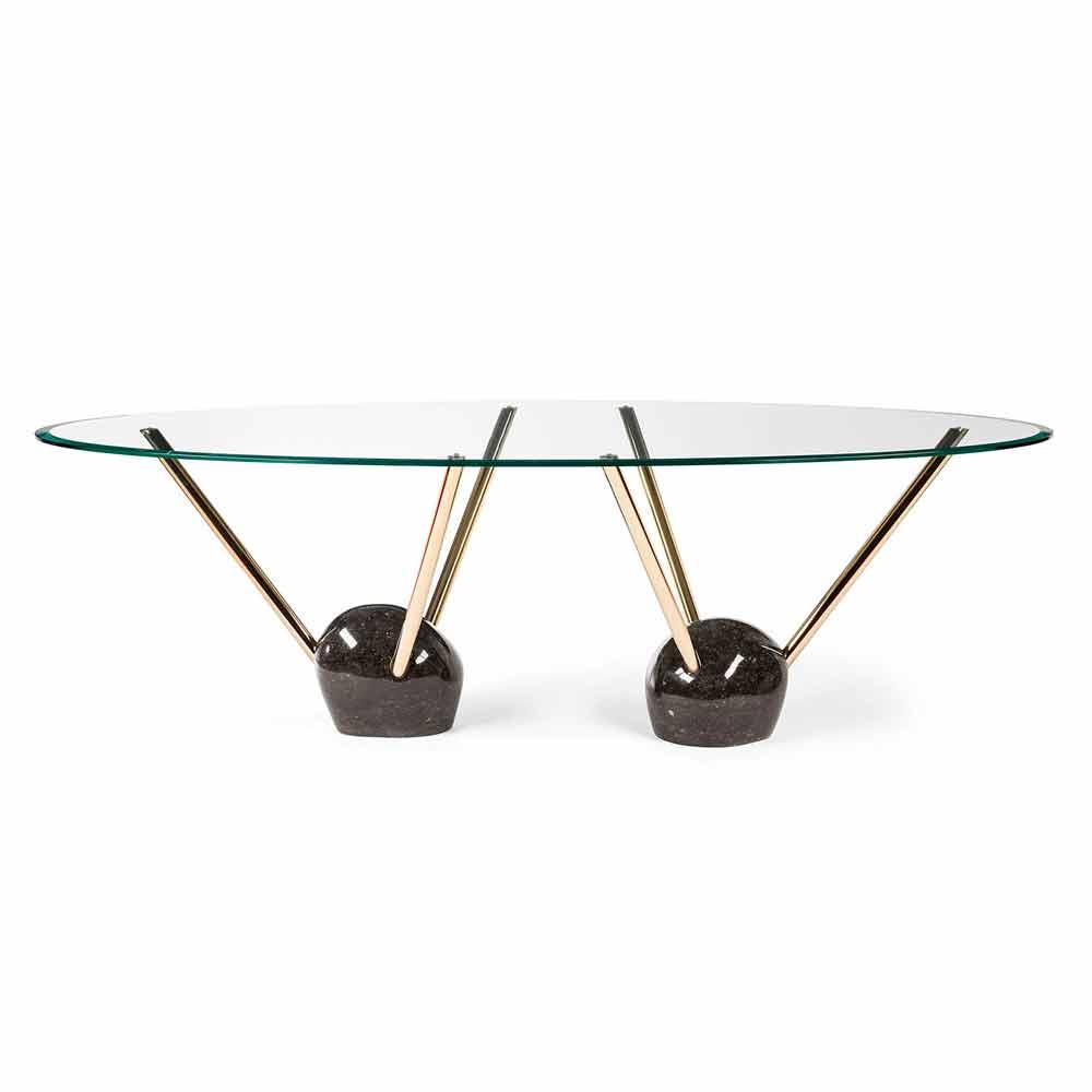 table ovale de design avec plateau en verre 100 faite en italie zoe. Black Bedroom Furniture Sets. Home Design Ideas