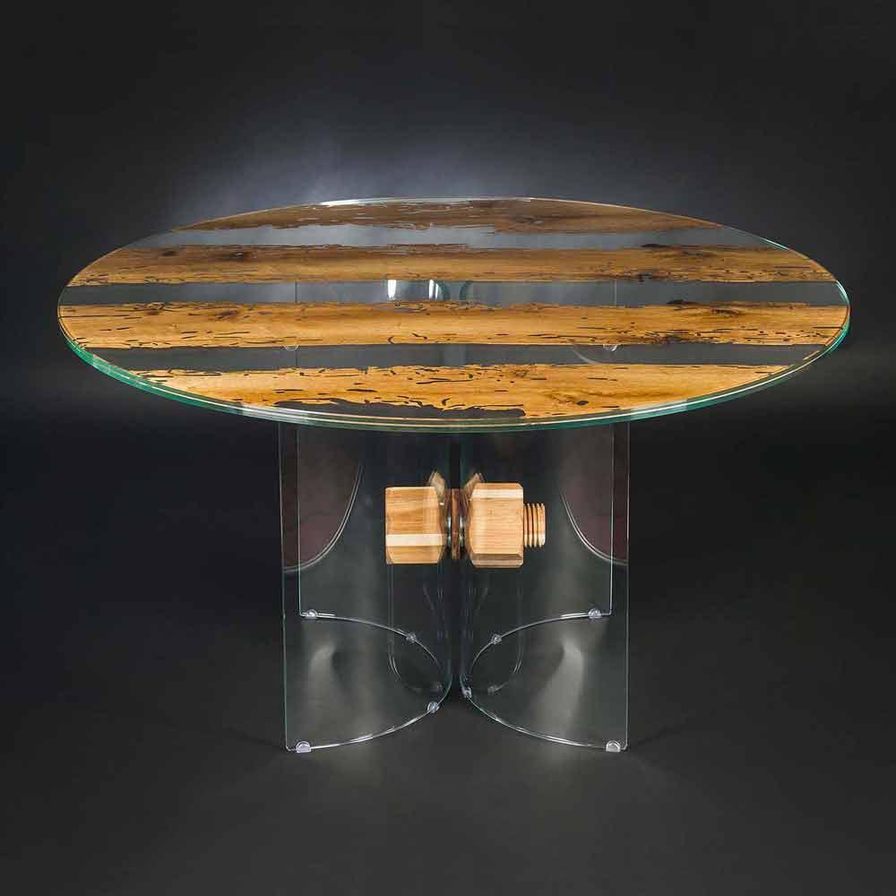 table ronde venezia en bois et verre faite en italie. Black Bedroom Furniture Sets. Home Design Ideas