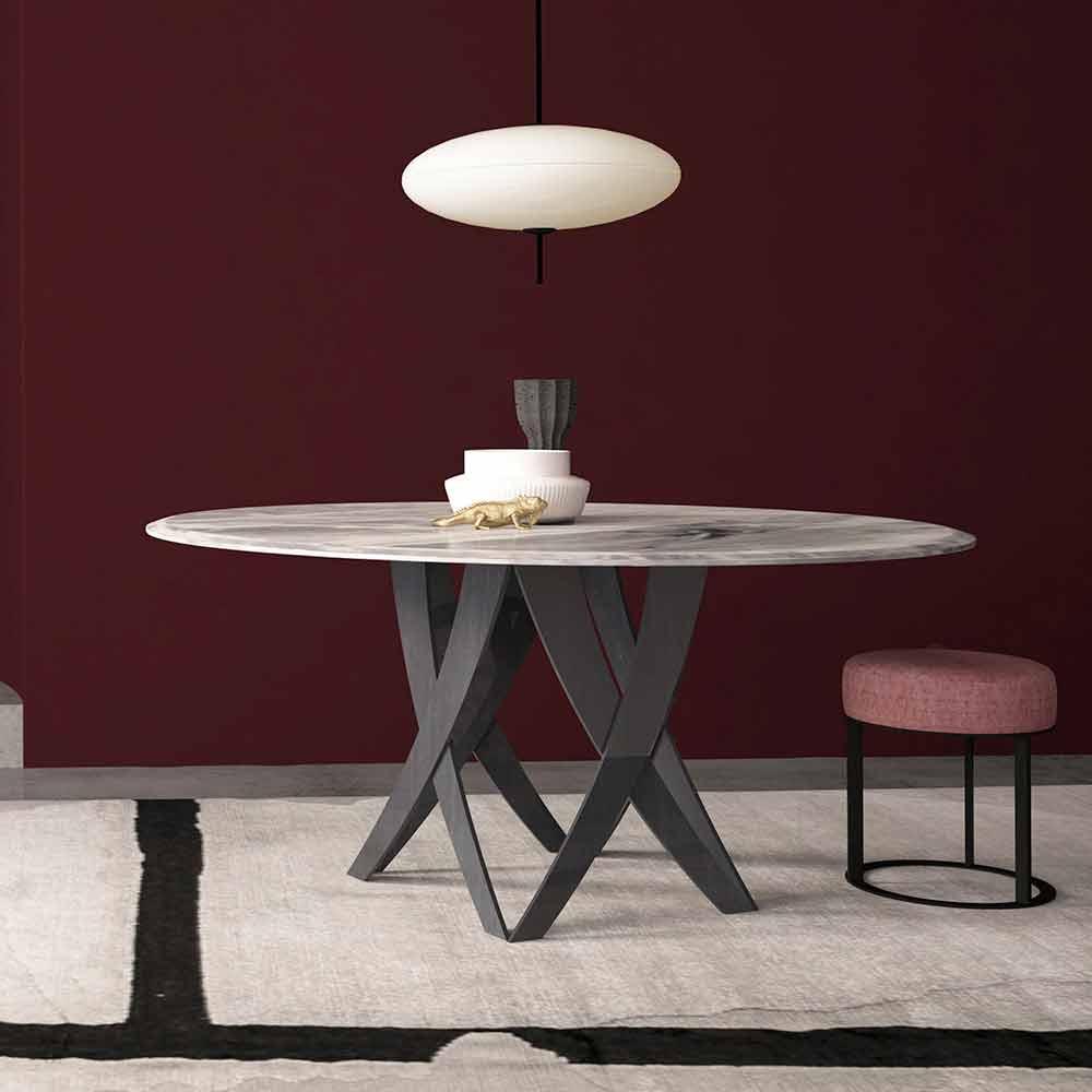 Ronde Imperial Italy en Montereale Table in Grey Made 140 Diamètre cm Marbre qVGpUSzM