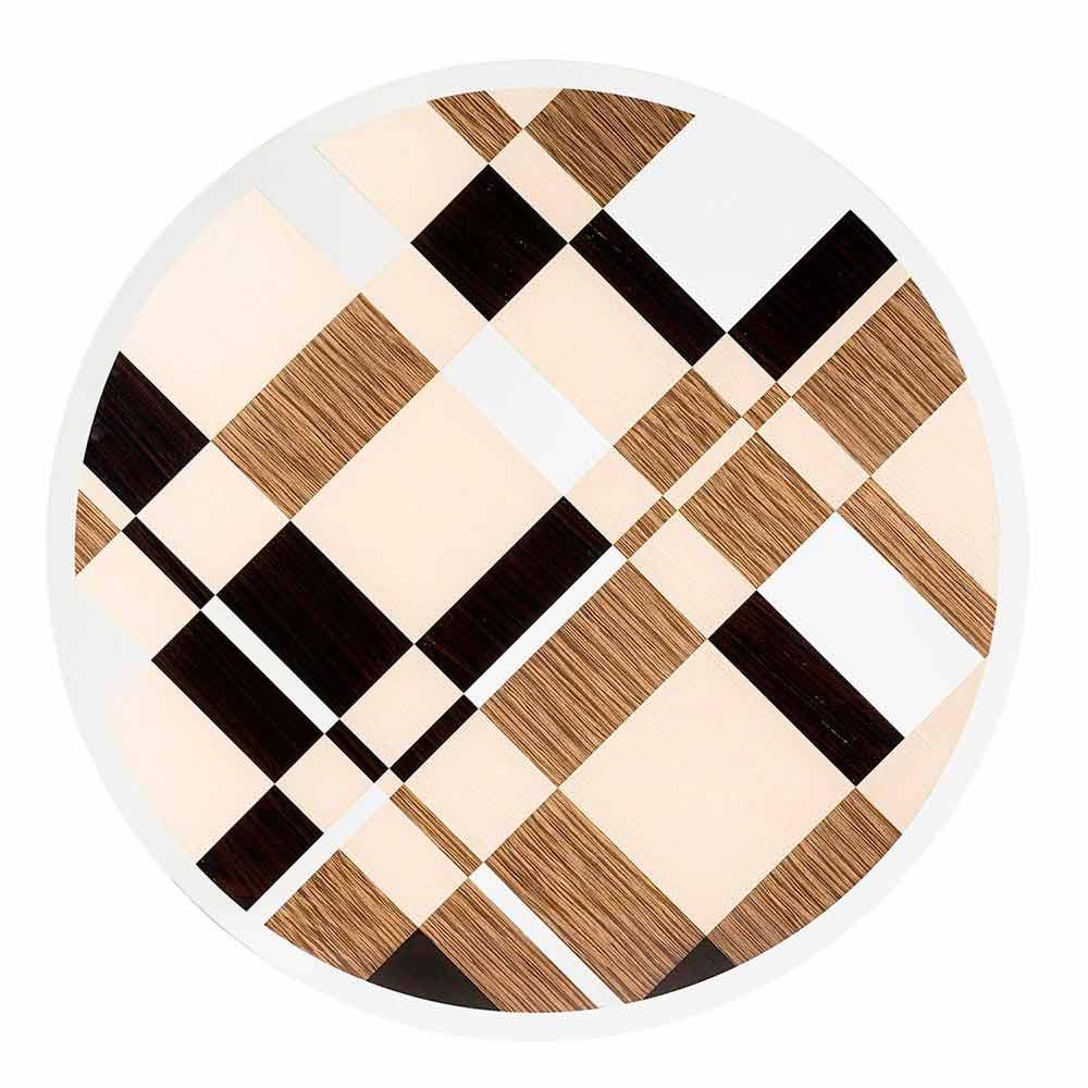 Table ronde moderne avec plateau en verre et bois ozzy for Table ronde verre et bois