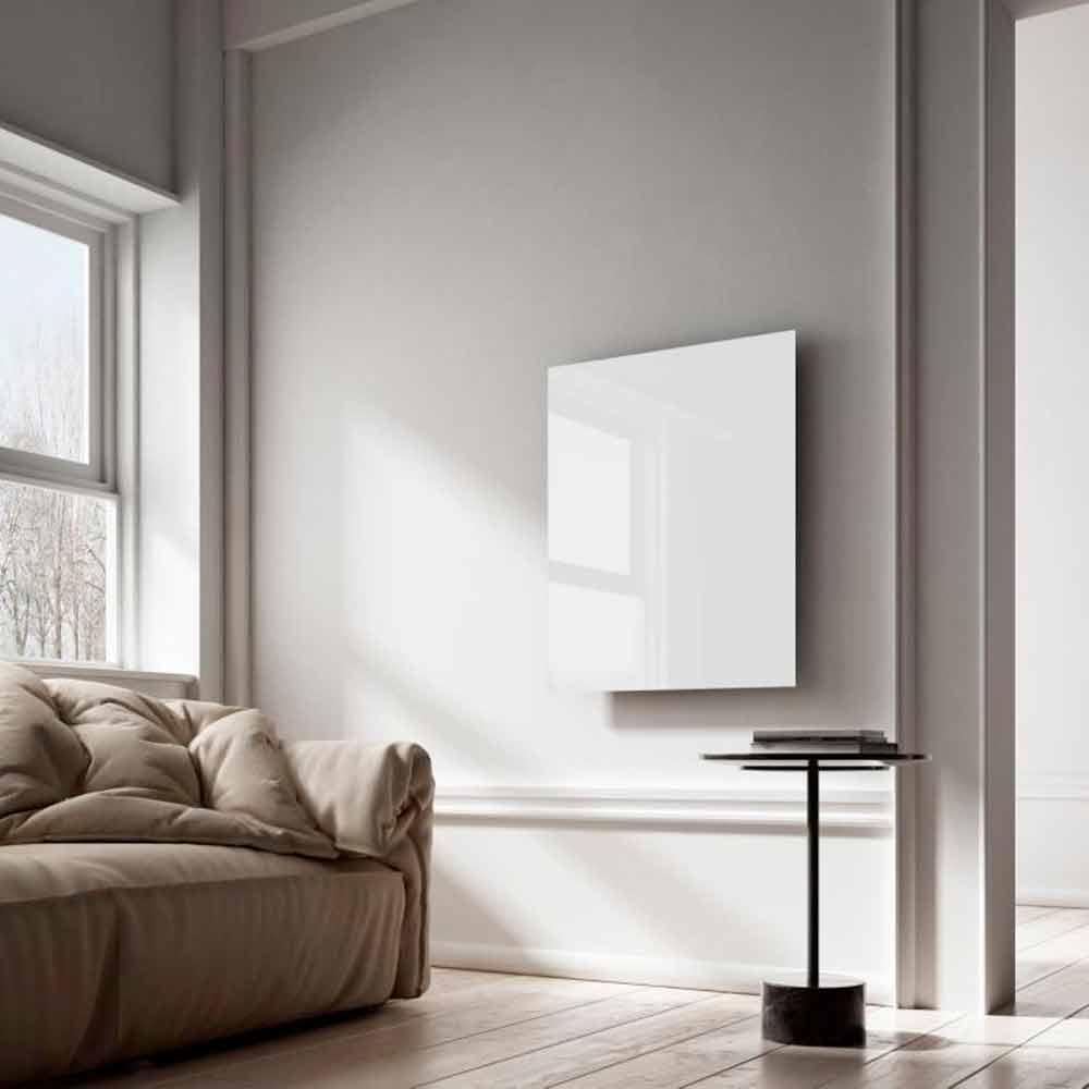 radiateur lectrique infrarouge de design en verre blanc clear. Black Bedroom Furniture Sets. Home Design Ideas