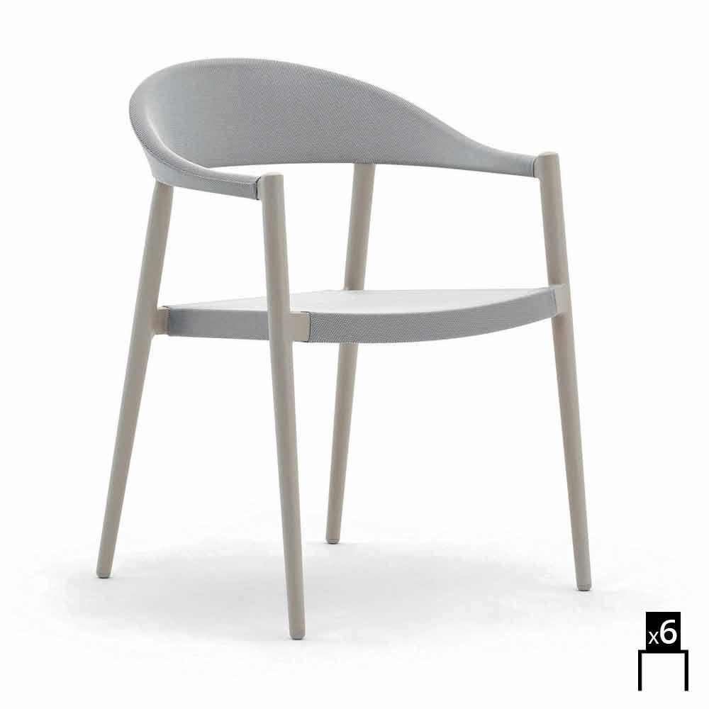 varaschin clever fauteuil d 39 ext rieur de design moderne ensemble de 6. Black Bedroom Furniture Sets. Home Design Ideas