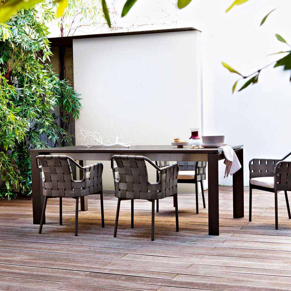 Table de jardin moderne extensible jusqu 39 380 cm varaschin dolmen - Table de jardin moderne ...