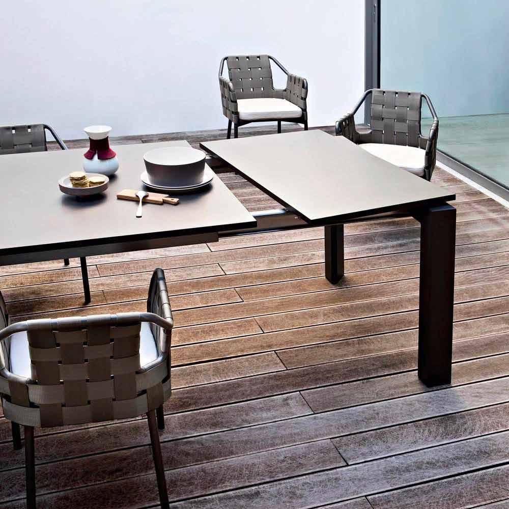 Varaschin dolmen table de jardin moderne extensible jusqu 39 380 cm - Table jardin moderne dijon ...