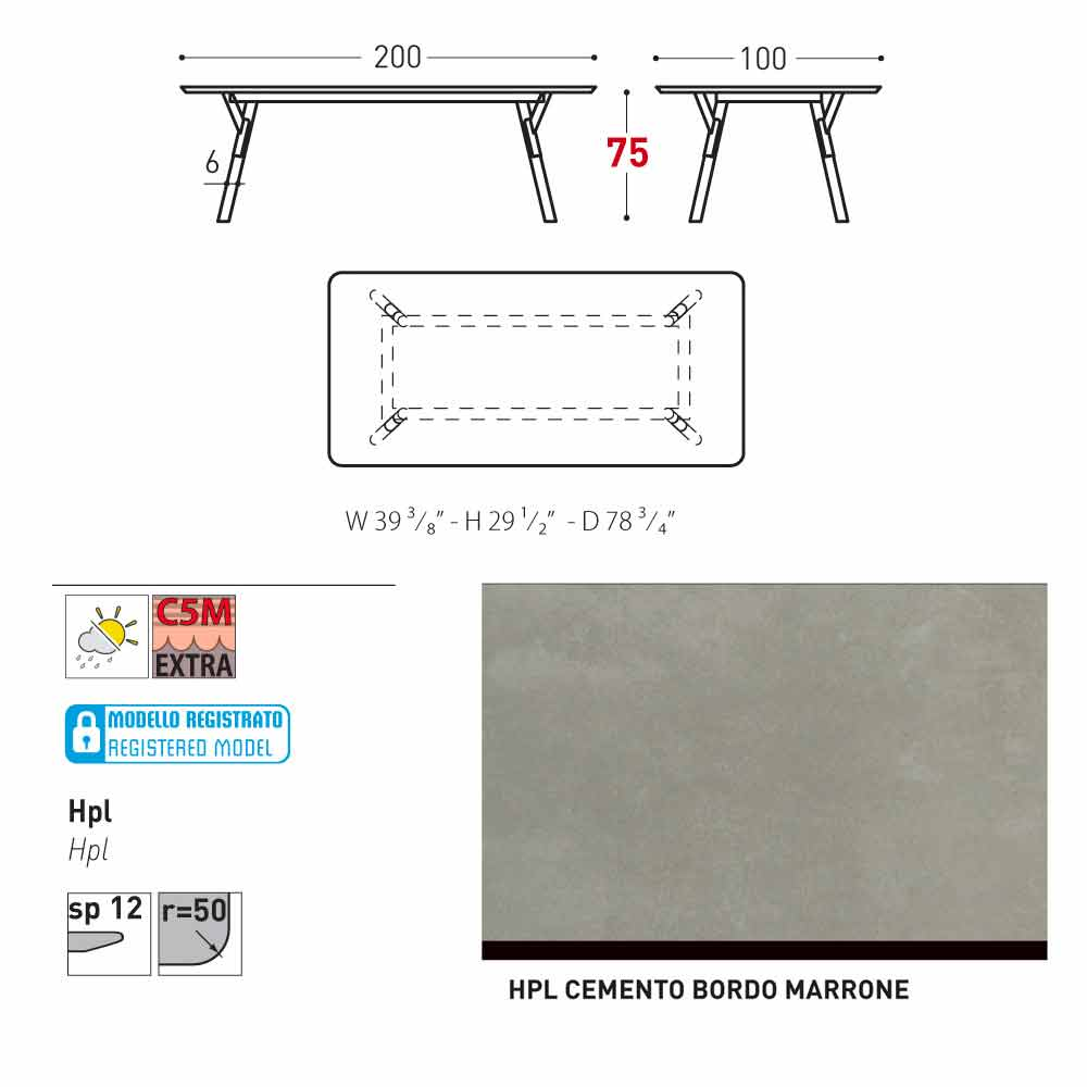Varaschin Link table de jardin avec pieds en bois de teak, H 75 cm