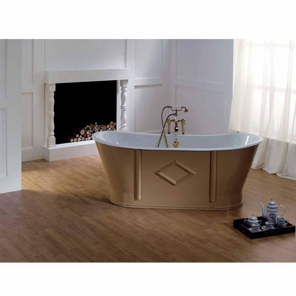 baignoire en fonte baignoire ilot en fonte 170x77 cm peinte en noir pieds blancs london. Black Bedroom Furniture Sets. Home Design Ideas
