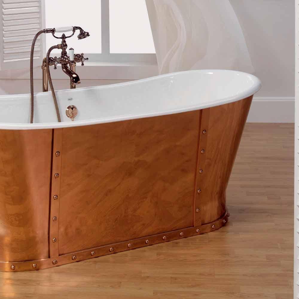 baignoire en fonte plaqu e ext rieurement en cuivre henry. Black Bedroom Furniture Sets. Home Design Ideas