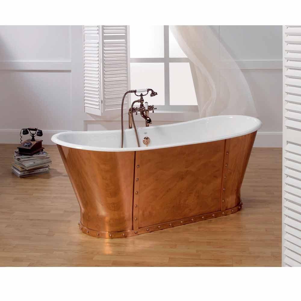 Baignoire en fonte plaqu e ext rieurement en cuivre henry - Vasche da bagno albatros ...