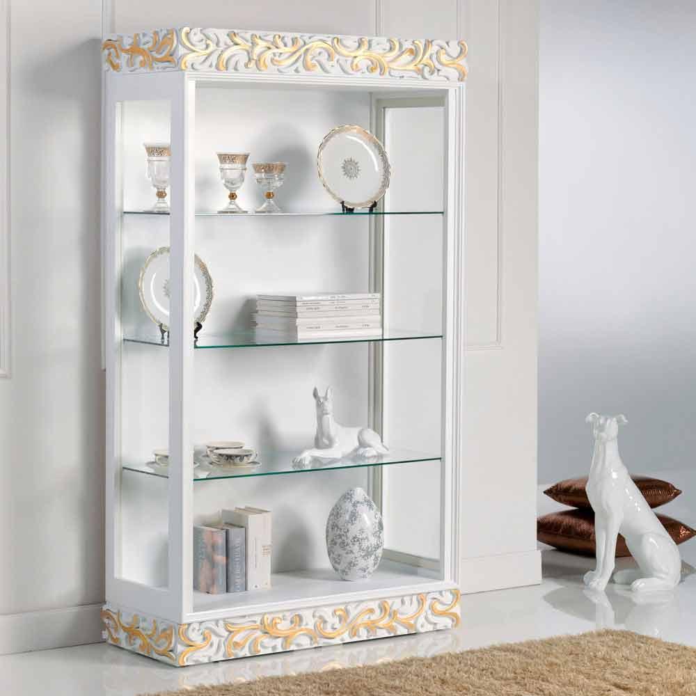 vitrine de design en bois avec 3 tag res en verre kush. Black Bedroom Furniture Sets. Home Design Ideas