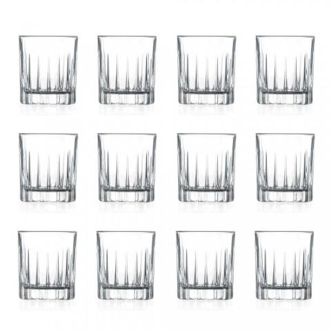 12 verres à liqueur en cristal écologique avec décorations de conception linéaire - Senzatempo