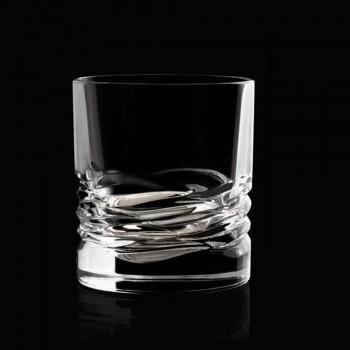 12 verres en cristal Wave Decor pour Whisky ou Dof Tumbler Water - Titane