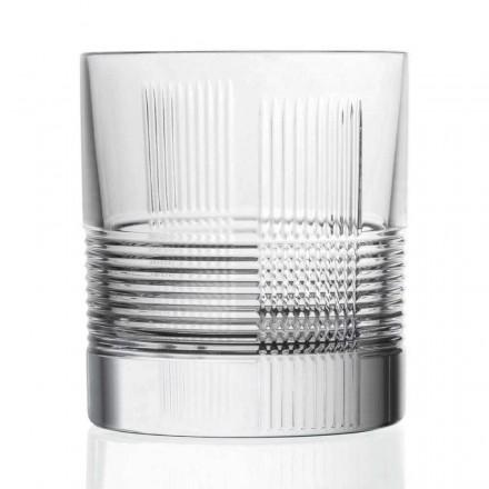 12 verres pour eau ou whisky design vintage en cristal décoré - tactile