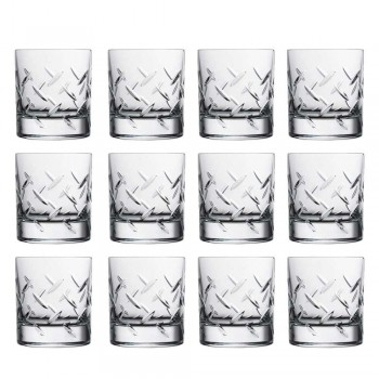 12 verres à whisky ou à eau en cristal écologique avec des décorations modernes - Arythmie