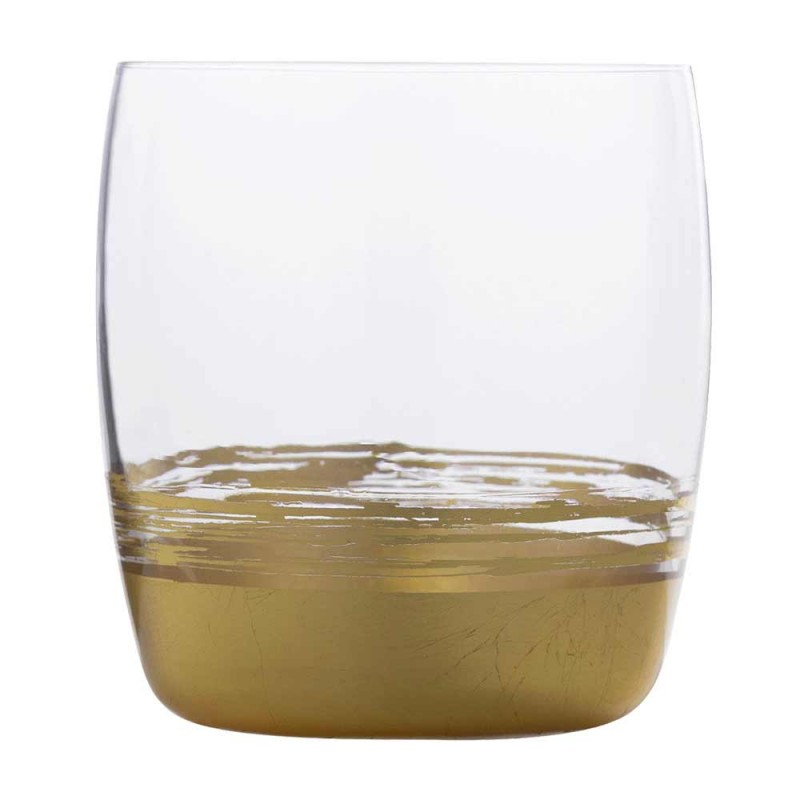 12 verres à gobelet bas pour eau avec feuille d'or, de platine ou de bronze - Soffio