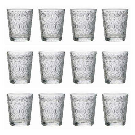 12 verres à eau en verre transparent décoré - Maroccobic