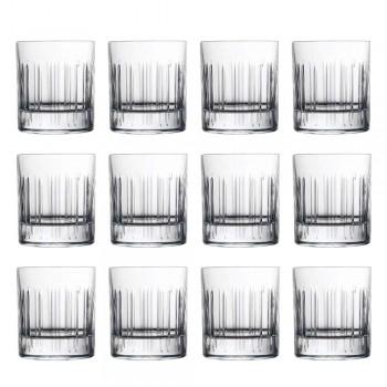12 verres à eau à whisky ou en cristal avec décoration linéaire de luxe - Arythmie