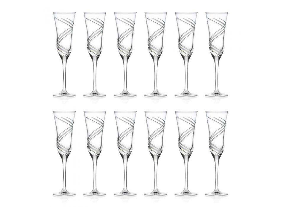 12 verres à champagne en cristal écologique décoré innovant - Cyclone