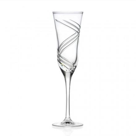 12 verres flûte à champagne en cristal écologique décoré Made in Italy - Cyclone