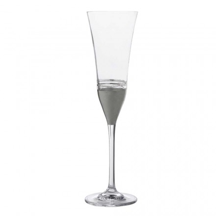 Verres en cristal à 12 flûtes avec feuille d'or, de bronze ou de platine, luxe - Soffio