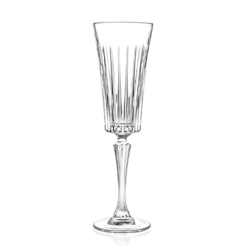 12 verres à flûte pour vin mousseux avec décoration de coupes linéaires en cristal écologique - Senzatempo