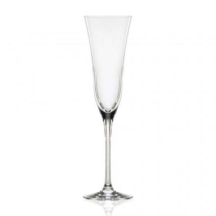 12 verres à flûte en cristal de luxe écologique, design minimaliste - lisse