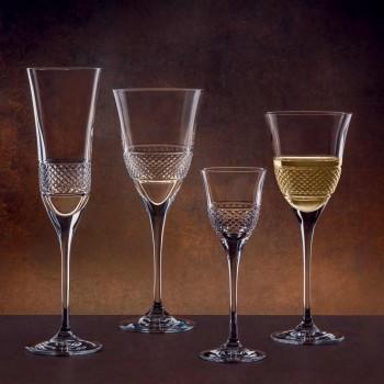 12 verres à flûte à champagne en cristal écologique à décor manuel - Milito