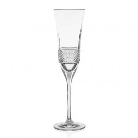 12 verres à flûte à champagne en cristal écologique, décorés à la main - Milito