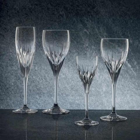 12 verres à vin blanc décorés à la main en cristal de luxe écologique - Voglia