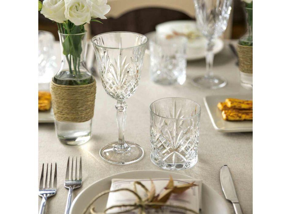 12 verres à vin, eau, cocktail dans un style vintage en cristal écologique - Cantabile