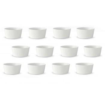 12 tasses de crème glacée ou de fruits en porcelaine blanche au design moderne - Egle